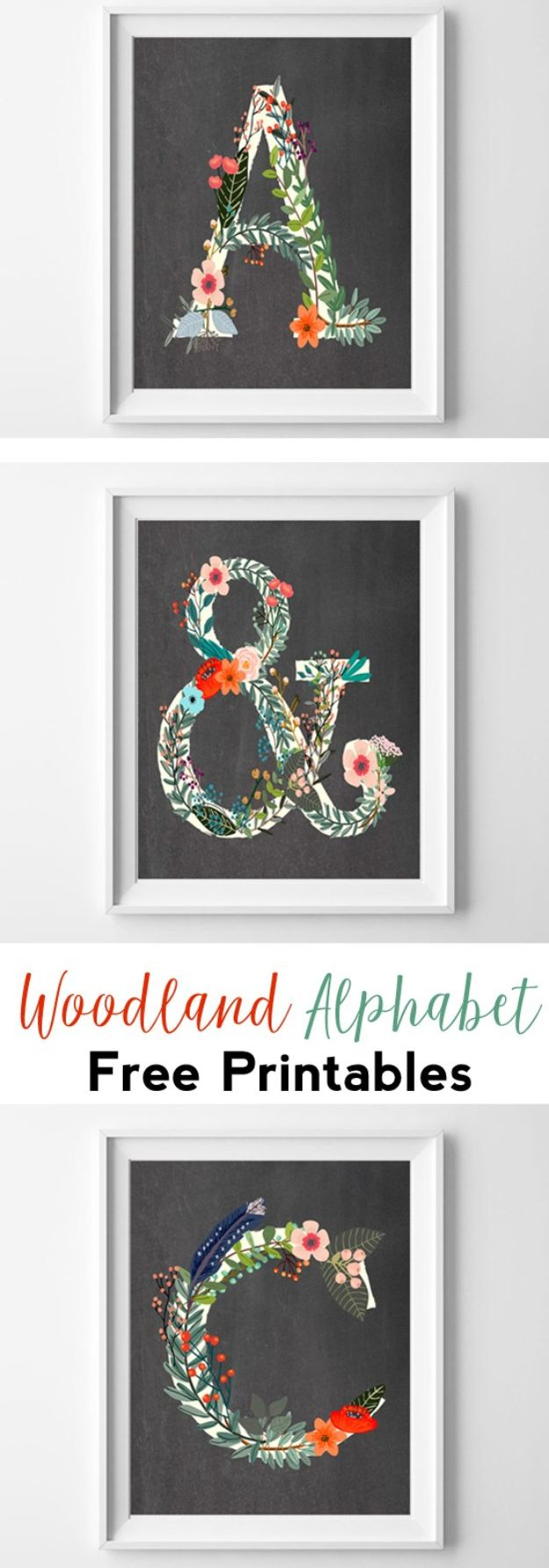 DIY Nursery Decor - Woodland Alphabet Free Printables - Easy Projects to Make for Baby Room - Decorations for Boy and Girl Rooms, Unisex, Minimalist and Modern Nurseries and Rustic, Farmhouse Style - All White, Pink, Blue, Yellow and Green - Cribs, Bedding, Wall Art and Hangings, Rocking Chairs, Pillows, Changing Tables, Storage and Bassinet for Baby http://diyjoy.com/diy-nursery-decor