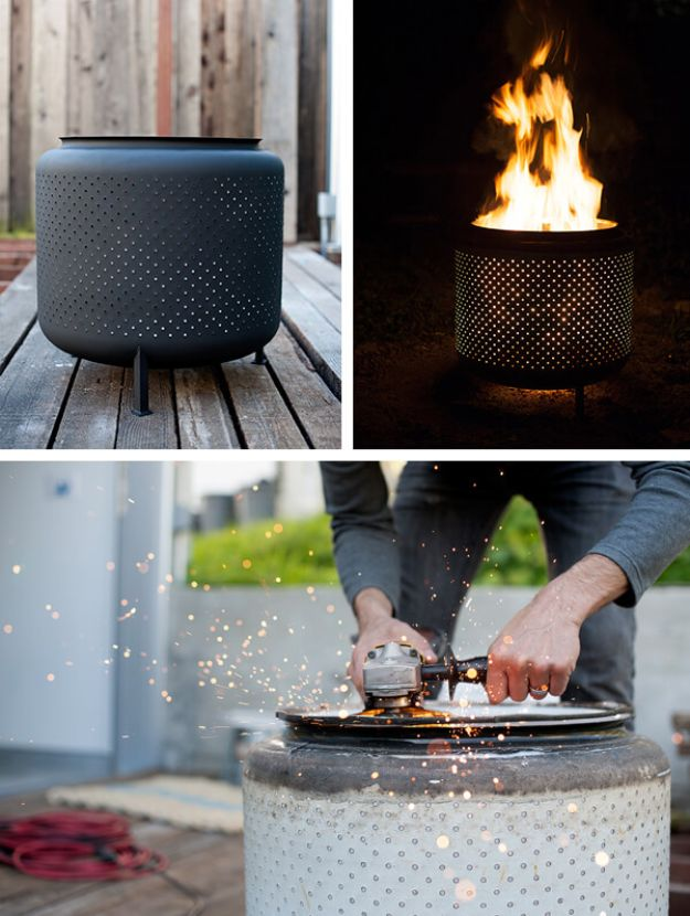 DIY Firepits - $10 DIY One Hour Upcycled Firepit - Step by Step Tutorial for Raised Firepit , In Ground, Portable, Brick, Stone, Metal and Cinder Block Outdoor Fireplace #outdoors #diy