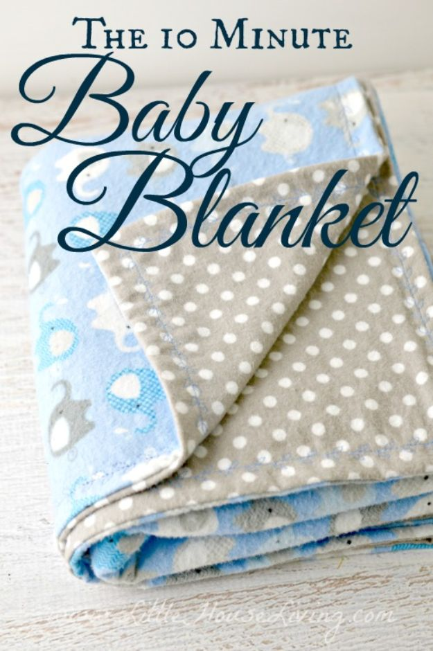 DIY Baby Blankets - 10 Minute Simple Baby Receiving Blanket - Easy No Sew Ideas for Minky Blankets, Quilt Tutorials, Crochet Projects, Blanket Projects for Boy and Girl - How To Make a Blanket By Hand With Fleece, Flannel, Knit and Fabric Scraps - Personalized and Monogrammed Ideas - Cute Cheap Gifts for Babies http://diyjoy.com/diy-baby-blankets