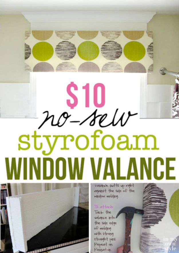 Cheap DIY Living Room Decor Ideas - $10 No-Sew Styrofoam Window Valance - Cool Modern, Rustic Creative Farmhouse Home Decor On A Budget - Do It Yourself Coffee Tables, Wall Art, Rugs, Pillows and Chairs. Step by Step Tutorials and Instructions #diydecor #livingroom #decorideas