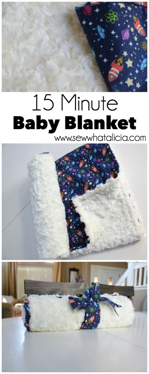 DIY Baby Blankets - 15 Minute Baby Minky Blanket - Easy No Sew Ideas for Minky Blankets, Quilt Tutorials, Crochet Projects, Blanket Projects for Boy and Girl - How To Make a Blanket By Hand With Fleece, Flannel, Knit and Fabric Scraps - Personalized and Monogrammed Ideas - Cute Cheap Gifts for Babies http://diyjoy.com/diy-baby-blankets