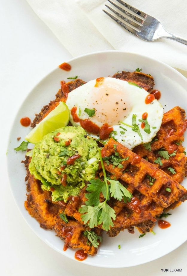 Sweet Potato Recipes - 3-Ingredient Paleo Sweet Potato Waffles - Easy Recipe Ideas for Sweet Potatoes in the Crockpot, Casserole Dishes, Baked, Mashed, Candied and Roastedd - Healthy Versions of Sweet Potatoes for Thanksgiving - Dinner, Lunch and Side Dishes #recipes