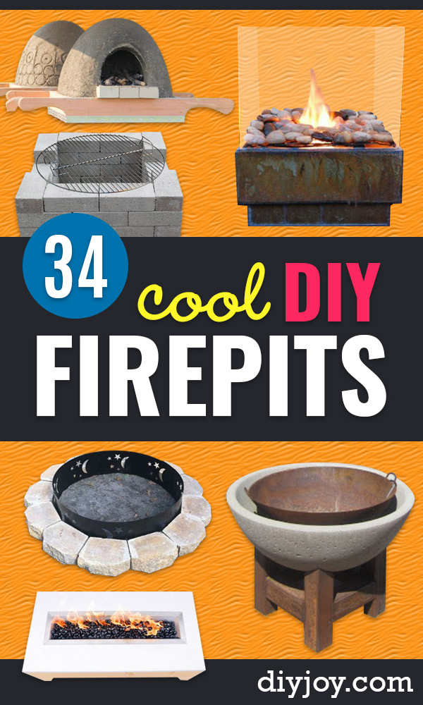 diy fire pits - Cheap and Easy backyard firepit diy Projects - Step by Step Tutorial for Raised Firepit , In Ground, Portable, Brick, Stone, Metal and Cinder Block Outdoor Fireplace #firepit #diy #outdoors