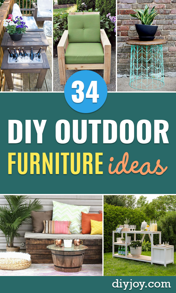DIY Outdoor Furniture - Cheap and Easy Ideas for Patio and Porch Seating and Tables, Chairs, Sofas - How To Make Outdoor Furniture Projects on A Budget - Fmaily Friendly Decor Kids Love - Quick Projects to Make This Weekend - Swings, Pallet Tables, End Tables, Rocking Chairs, Daybeds and Benches http://diyjoy.com/diy-outdoor-furniture
