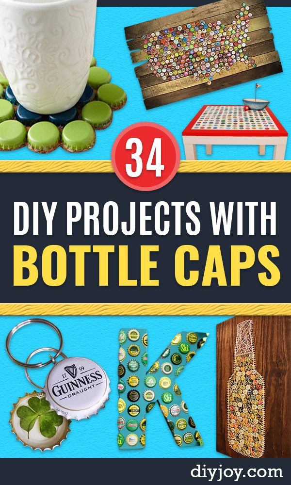 DIY Bottle Cap Crafts - Make Jewelry Projects, Creative Craft Ideas, Gift Ideas for Men, Women and Kids, KeyChains and Christmas Ornaments, Presents http://diyjoy.com/diy-projects-bottle-caps