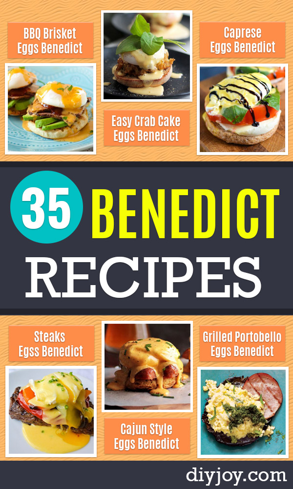 Eggs Benedict Recipes - Best Benedicts and Recipe Ideas for Breakfast, Brunch and Lunch - Easy and Quick Eggs Benedict, Classic, Salmon, Vegetarian and Healthy Variations - How to Make Hollandaise Sauce - Pioneer Woman Favorites - Eggs Benedict Casserole for A Crowd http://diyjoy.com/eggs-benedict-recipes