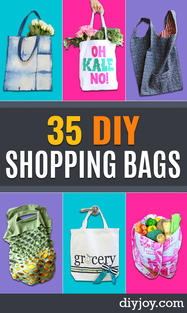 DIY Shopping Bags - Easy Drawstring Bag Tutorials - How To Make A Shopping Bag - Use Fabric Scraps, Old Denim Jeans, Upcycled Items - Cute Monogrammed Ideas, Painted Bags and Sewing Tutorials for Beginners http://diyjoy.com/diy-drawstring-bags