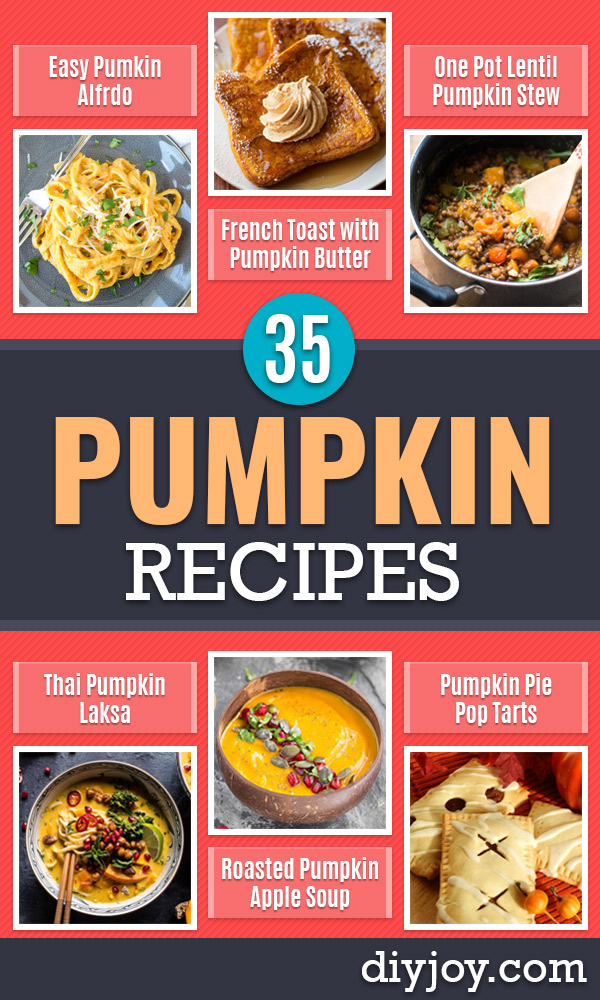 Pumpkin Recipes  - Easy Dessert Ideas, Dinner Meals With Pumpkin- Paleo, Gluten Free, Fresh and Healthy Pumpkin Recipes for Kids - Best Pumpkin Pie for Thanksgiving Desserts Healthy Pumpkin Ideas and Easy Bread, Pie, Dessert and Muffins - Recipe for Pumpkin Spice Apple Dishes, Paleo and Gluten Free Versions of Holiday Favorites - Breakfast, Lunch, Snack, Dinner and Dessert Recipes With Pumpkin Savory and Hearty Fall Meals - http://diyjoy.com/pumpkin-recipes