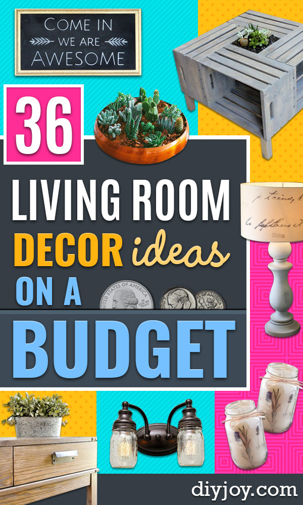 Cheap DIY Living Room Decor Ideas - Cool Modern, Rustic Creative Farmhouse Home Decor On A Budget - Do It Yourself Coffee Tables, Wall Art, Rugs, Pillows and Chairs. Step by Step Tutorials and Instructions