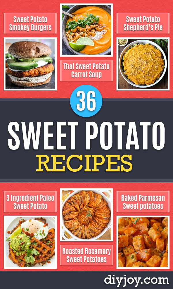 Sweet Potato Recipes - Easy Recipe Ideas for Sweet Potatoes in the Crockpot, Casserole Dishes, Baked, Mashed, Candied and Roastedd - Healthy Versions of Sweet Potatoes for Thanksgiving - Dinner, Lunch and Side Dishes http://diyjoy.com/sweet-potato-recipes