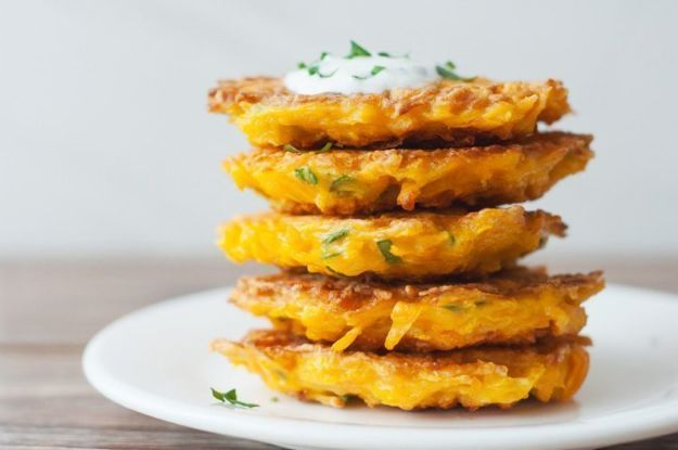 Butternut Squash Recipes - 5-Ingredient Butternut Squash Fritters - Healthy and Hearty Butter Nut Recipe Ideas for Soup, Roasted, Baked, Instant Pot, Crockpot, Mashed- Pasta, Salad, Dessert and Easy Side Dishes - Paleo,and Gluten Free Versions, Thanksgiving Favorites http://diyjoy.com/butternut-squash-recipes