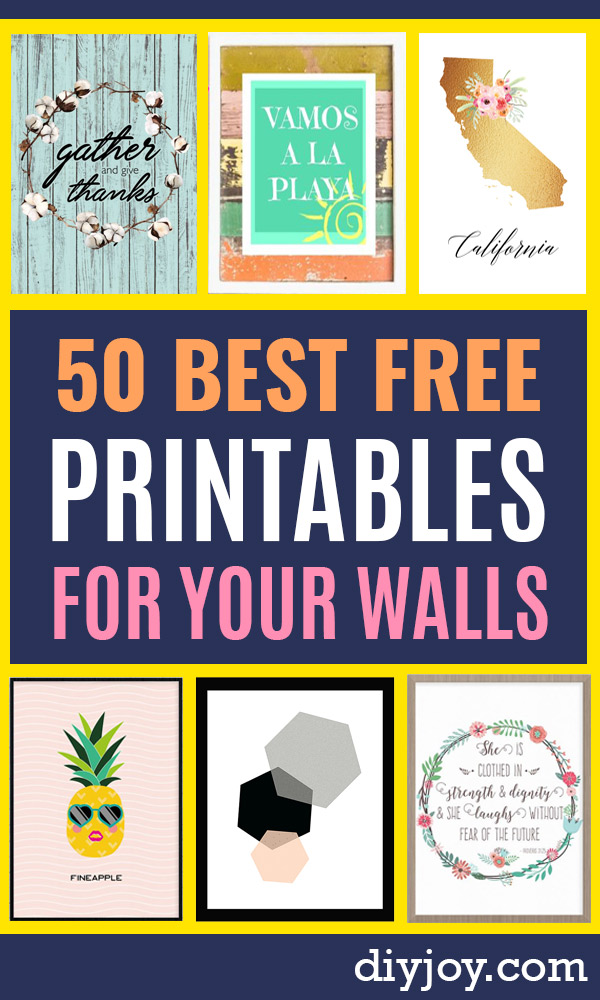 Free Printables For Your Walls - Easy Canvas Ideas With Free Downloadable Artwork and Quote Sayings - Best Free Prints for Wall Art and Picture to Print for Home and Bedroom Decor - Signs for the Home, Organization, Office - Quotes for Bedroom and Kitchens, Vintage Bathroom Pictures - Downloadable Printable for Kids - DIY and Crafts by DIY JOY #wallart #freeprintables #diyideas #diyart #walldecor #diyhomedecor http://diyjoy.com/best-free-printables-wall-art