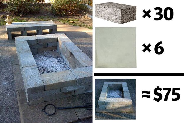 DIY Firepits - $75 DIY Firepit and Bench - Step by Step Tutorial for Raised Firepit , In Ground, Portable, Brick, Stone, Metal and Cinder Block Outdoor Fireplace #outdoors #diy