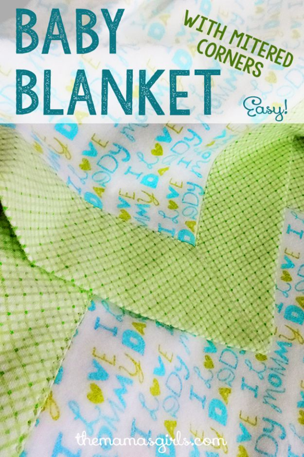 DIY Baby Blankets - Baby Blanket with Mitered Corners - Easy No Sew Ideas for Minky Blankets, Quilt Tutorials, Crochet Projects, Blanket Projects for Boy and Girl - How To Make a Blanket By Hand With Fleece, Flannel, Knit and Fabric Scraps - Personalized and Monogrammed Ideas - Cute Cheap Gifts for Babies  #babygifts