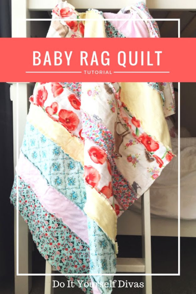 DIY Baby Blankets - Baby Rag Quilt - Easy No Sew Ideas for Minky Blankets, Quilt Tutorials, Crochet Projects, Blanket Projects for Boy and Girl - How To Make a Blanket By Hand With Fleece, Flannel, Knit and Fabric Scraps - Personalized and Monogrammed Ideas - Cute Cheap Gifts for Babies  #babygifts