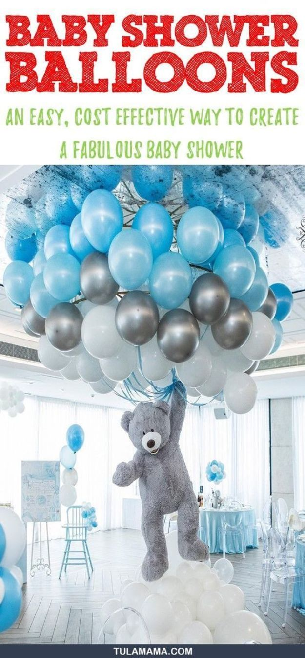 DIY Baby Shower Decorations - Baby Shower Balloons - Cute and Easy Ways to Decorate for A Baby Shower Ideas in Pink and Blue for Boys and Girls- Games and Party Decor - Banners, Cake, Invitations and Favors http://diyjoy.com/diy-baby-shower-decorations
