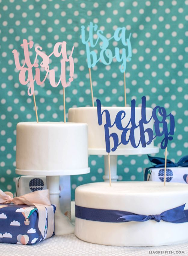 DIY Baby Shower Decorations - Baby Shower Cake Toppers - Cute and Easy Ways to Decorate for A Baby Shower Ideas in Pink and Blue for Boys and Girls- Games and Party Decor - Banners, Cake, Invitations and Favors http://diyjoy.com/diy-baby-shower-decorations