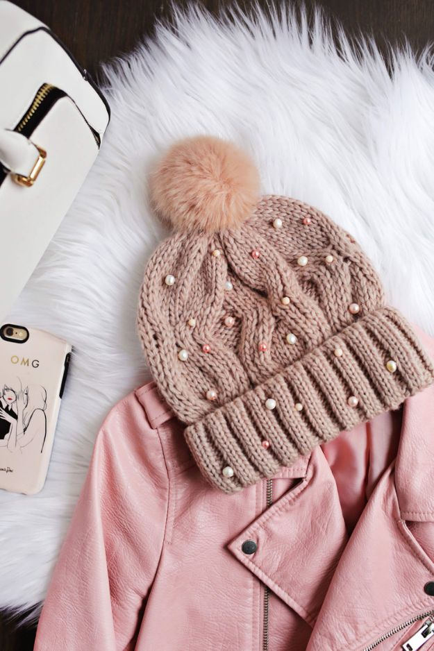 DIY Clothes for Winter - Beaded Beanie DIY - Cool Fashion Ideas to Make for Cold Weather - Handmade Scarves, Hats, Coats, Gloves and Mittens, Sweaters and Wraps - Easy Sewing Tutorials and No Sew Items - Creative and Quick Homemade Gifts and Christmas Present Ideas http://diyjoy.com/diy-clothes-winter