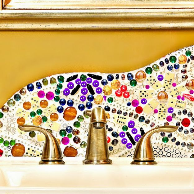 DIY Bottle Cap Crafts - Beautiful Backsplash DIY - Make Jewelry Projects, Creative Craft Ideas, Gift Ideas for Men, Women and Kids, KeyChains and Christmas Ornaments, Presents