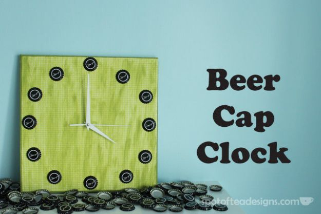 DIY Bottle Cap Crafts - Beer Cap Clock - Make Jewelry Projects, Creative Craft Ideas, Gift Ideas for Men, Women and Kids, KeyChains and Christmas Ornaments, Presents
