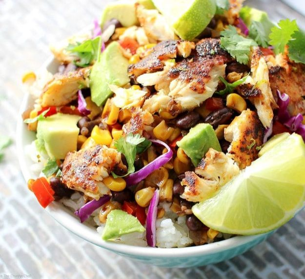 Tilapia Recipes - Blackened Tilapia Taco Bowls - Best Recipe Ideas for Tilapia Fish - Dinner, Lunch, Snacks and Appetizers - Healthy Foods, Gluten Free Low Carb and Keto Friendly Dishes - Salads, Pastas and Easy Weeknight Dinners, Lunches for Work - Broiled, Grilled, Lemon Baked, Fried and Quick Ways to Make Tilapia #fish #healthy #recipes