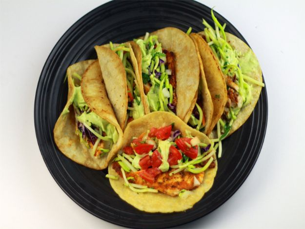 Tilapia Recipes - Blackened Tilapia Tacos with Avocado Cream Sauce - Best Recipe Ideas for Tilapia Fish - Dinner, Lunch, Snacks and Appetizers - Healthy Foods, Gluten Free Low Carb and Keto Friendly Dishes - Salads, Pastas and Easy Weeknight Dinners, Lunches for Work - Broiled, Grilled, Lemon Baked, Fried and Quick Ways to Make Tilapia #fish #healthy #recipes