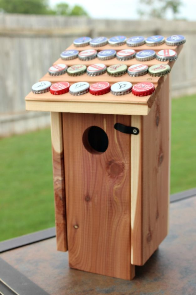 DIY Bottle Cap Crafts - Bottle Cap Birdhouse - Make Jewelry Projects, Creative Craft Ideas, Gift Ideas for Men, Women and Kids, KeyChains and Christmas Ornaments, Presents