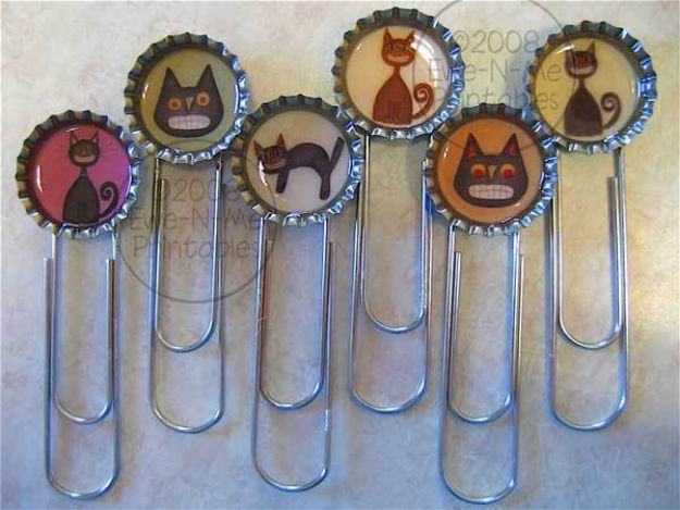 DIY Bottle Cap Crafts - Bottle Cap Bookmarks - Make Jewelry Projects, Creative Craft Ideas, Gift Ideas for Men, Women and Kids, KeyChains and Christmas Ornaments, Presents