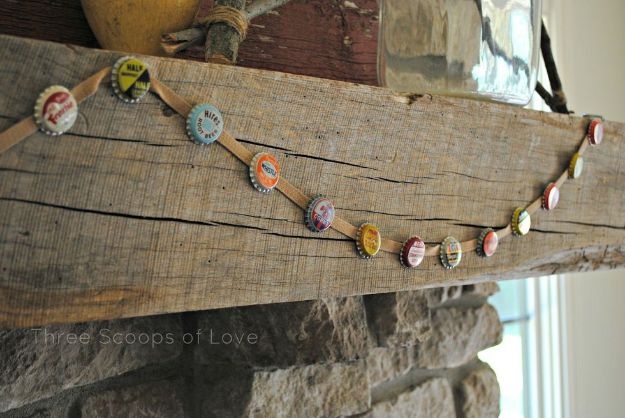 DIY Bottle Cap Crafts - Bottle Cap Bunting - Make Jewelry Projects, Creative Craft Ideas, Gift Ideas for Men, Women and Kids, KeyChains and Christmas Ornaments, Presents