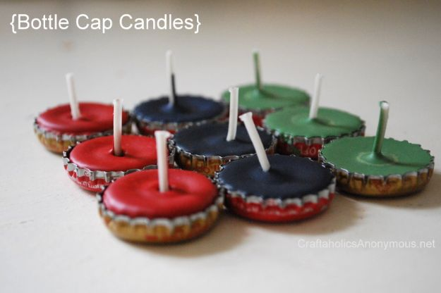 DIY Bottle Cap Crafts - Bottle Cap Candles - Make Jewelry Projects, Creative Craft Ideas, Gift Ideas for Men, Women and Kids, KeyChains and Christmas Ornaments, Presents