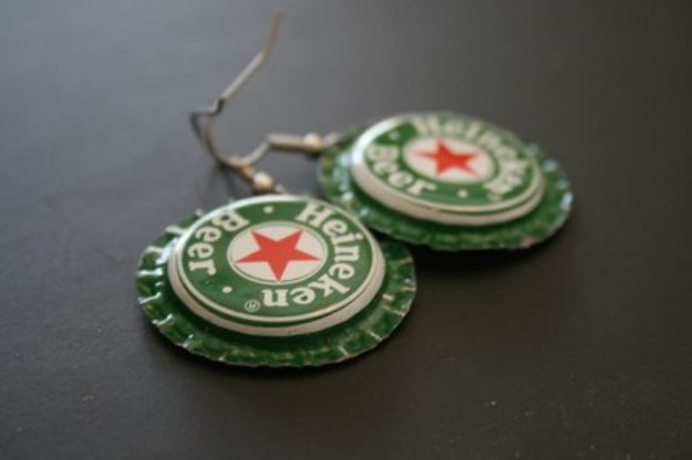 DIY Bottle Cap Crafts - Bottle Cap Earrings - Make Jewelry Projects, Creative Craft Ideas, Gift Ideas for Men, Women and Kids, KeyChains and Christmas Ornaments, Presents