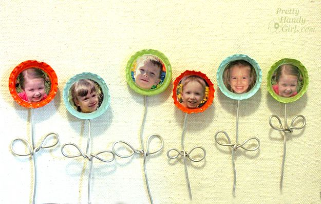 Bottle Cap Flower Magnets
