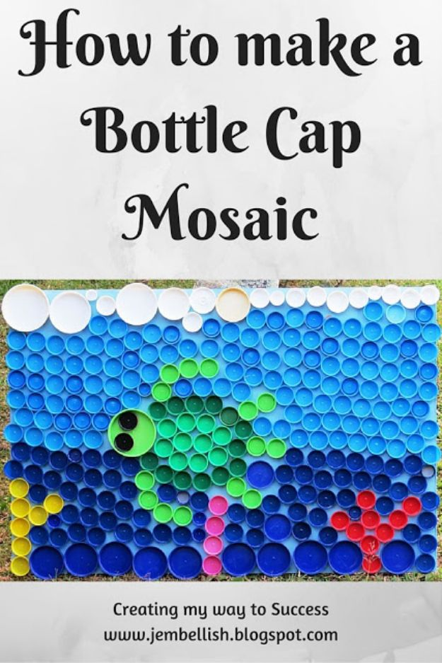 DIY Bottle Cap Crafts - Bottle Cap Mosaic - Make Jewelry Projects, Creative Craft Ideas, Gift Ideas for Men, Women and Kids, KeyChains and Christmas Ornaments, Presents