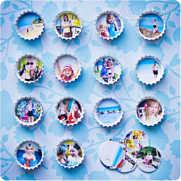 DIY Bottle Cap Crafts - Bottle Cap Photo Frame Magnets - Make Jewelry Projects, Creative Craft Ideas, Gift Ideas for Men, Women and Kids, KeyChains and Christmas Ornaments, Presents http://diyjoy.com/diy-projects-bottle-caps