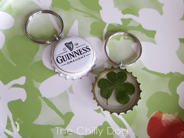 DIY Bottle Cap Crafts - Bottle Cap Pressed Shamrock Keychain - Make Jewelry Projects, Creative Craft Ideas, Gift Ideas for Men, Women and Kids, KeyChains and Christmas Ornaments, Presents