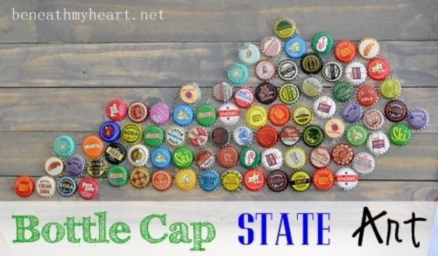 DIY Bottle Cap Crafts - Bottle Cap State Art - Make Jewelry Projects, Creative Craft Ideas, Gift Ideas for Men, Women and Kids, KeyChains and Christmas Ornaments, Presents