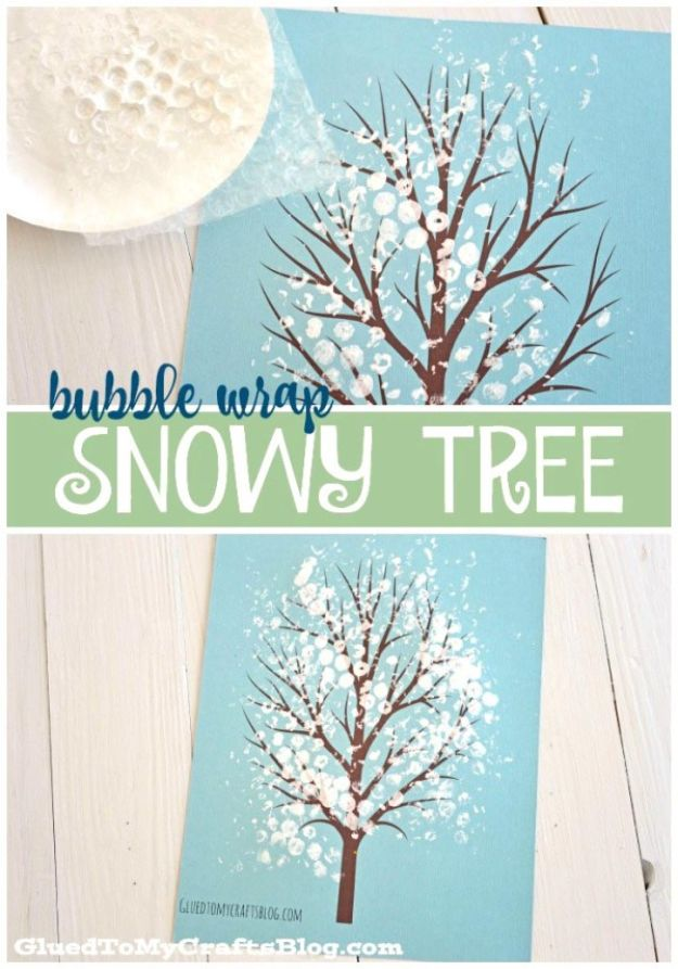 Winter Crafts for Toddlers and Kids - Bubble Wrap Snowy Tree Kid Craft - Easy Art Projects and Craft Ideas for 2 Year Olds, Preschool Age Children - Simple Indoor Activities, Things To Make At Home in Wintertime - Snow, Snowflake and Icicle, Snowmen - Classroom Art Projects #kidscrafts #craftsforkids #winters