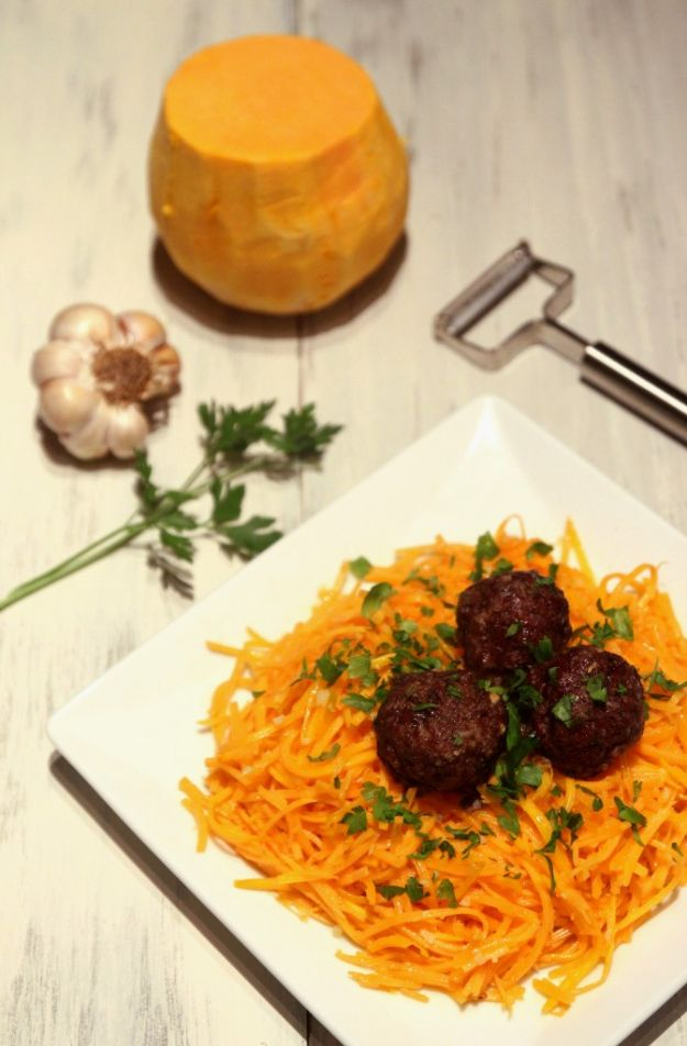 Butternut Squash Recipes - Butternut Squash Spaghetti Meatballs - Healthy and Hearty Butter Nut Recipe Ideas for Soup, Roasted, Baked, Instant Pot, Crockpot, Mashed- Pasta, Salad, Dessert and Easy Side Dishes - Paleo,and Gluten Free Versions, Thanksgiving Favorites http://diyjoy.com/butternut-squash-recipes