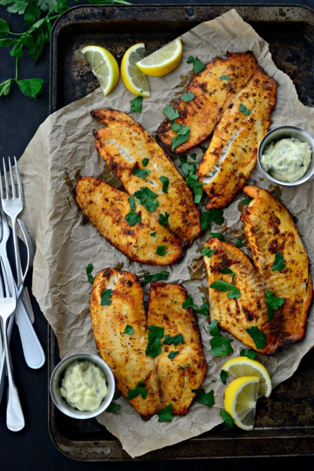 Tilapia Recipes - Cajun Tilapia with Lemon Tarragon Tartar Sauce - Best Recipe Ideas for Tilapia Fish - Dinner, Lunch, Snacks and Appetizers - Healthy Foods, Gluten Free Low Carb and Keto Friendly Dishes - Salads, Pastas and Easy Weeknight Dinners, Lunches for Work - Broiled, Grilled, Lemon Baked, Fried and Quick Ways to Make Tilapia http://diyjoy.com/tilapia-recipes