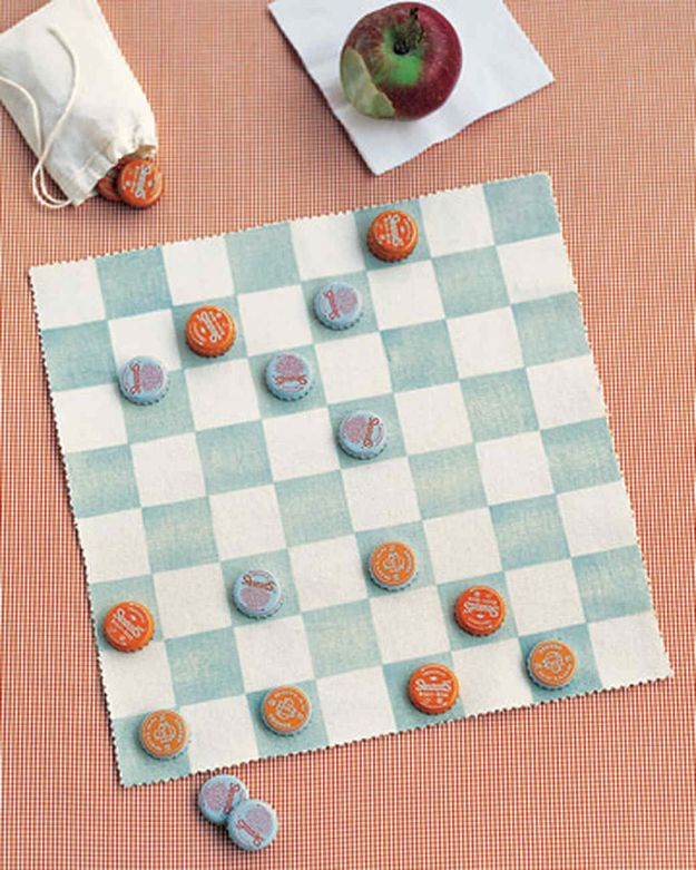 DIY Bottle Cap Crafts - Canvas Checkerboard - Make Jewelry Projects, Creative Craft Ideas, Gift Ideas for Men, Women and Kids, KeyChains and Christmas Ornaments, Presents