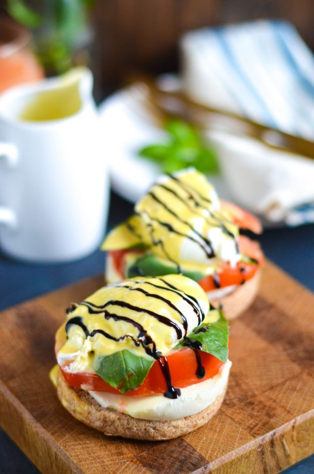 Eggs Benedict Recipes - Caprese Eggs Benedict - Best Benedicts and Recipe Ideas for Breakfast, Brunch and Lunch - Easy and Quick Eggs Benedict, Classic, Salmon, Vegetarian and Healthy Variations - How to Make Hollandaise Sauce - Pioneer Woman Favorites - Eggs Benedict Casserole for A Crowd http://diyjoy.com/eggs-benedict-recipes