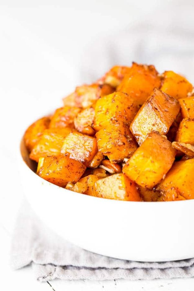 Butternut Squash Recipes - Caramelized Butternut Squash - Healthy and Hearty Butter Nut Recipe Ideas for Soup, Roasted, Baked, Instant Pot, Crockpot, Mashed- Pasta, Salad, Dessert and Easy Side Dishes - Paleo,and Gluten Free Versions, Thanksgiving Favorites http://diyjoy.com/butternut-squash-recipes
