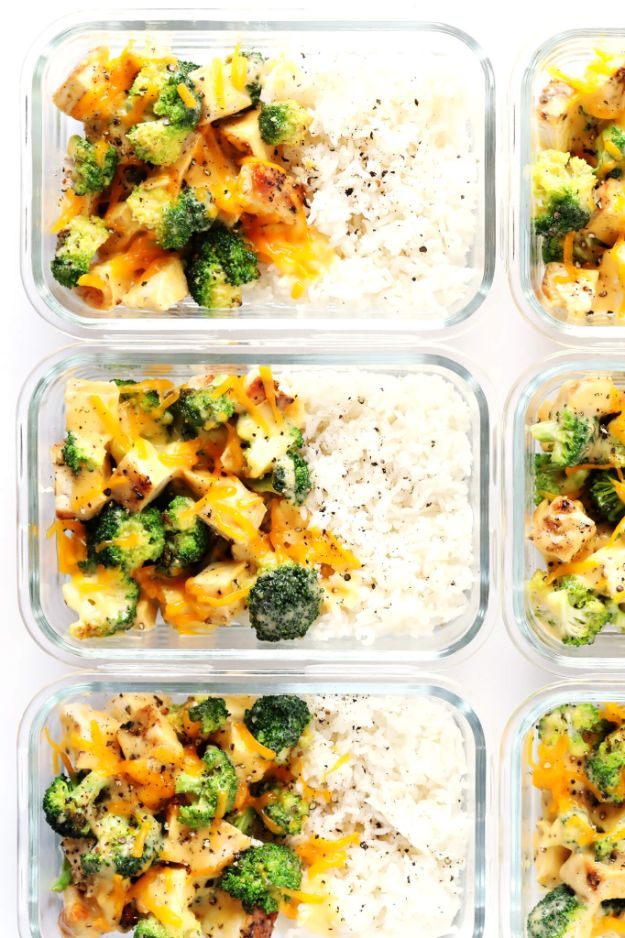 Easy Prep Recipes for a Week - Cheesy Broccoli, Chicken and Rice Bowls - Quick Meal Prepping Recipe With Chicken = Make Ahead Meals