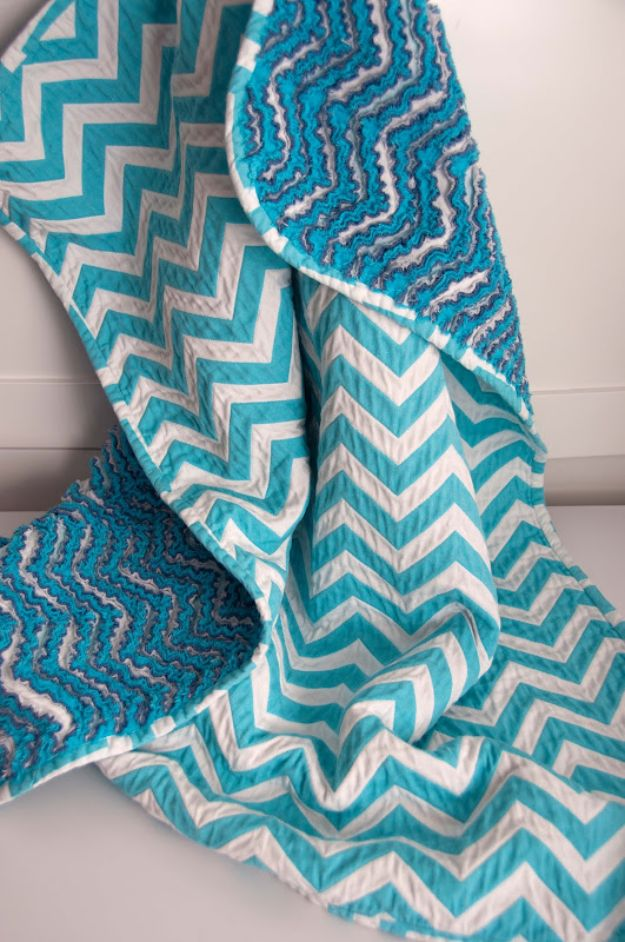 DIY Baby Blankets - Chevron Chenille Baby Blanket - Easy No Sew Ideas for Minky Blankets, Quilt Tutorials, Crochet Projects, Blanket Projects for Boy and Girl - How To Make a Blanket By Hand With Fleece, Flannel, Knit and Fabric Scraps - Personalized and Monogrammed Ideas - Cute Cheap Gifts for Babies http://diyjoy.com/diy-baby-blankets
