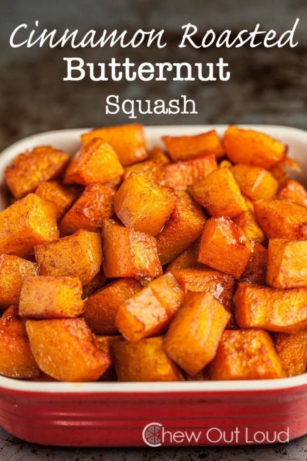 Butternut Squash Recipes - Cinnamon Roasted Butternut Squash - Healthy and Hearty Butter Nut Recipe Ideas for Soup, Roasted, Baked, Instant Pot, Crockpot, Mashed- Pasta, Salad, Dessert and Easy Side Dishes - Paleo,and Gluten Free Versions, Thanksgiving Favorites http://diyjoy.com/butternut-squash-recipes