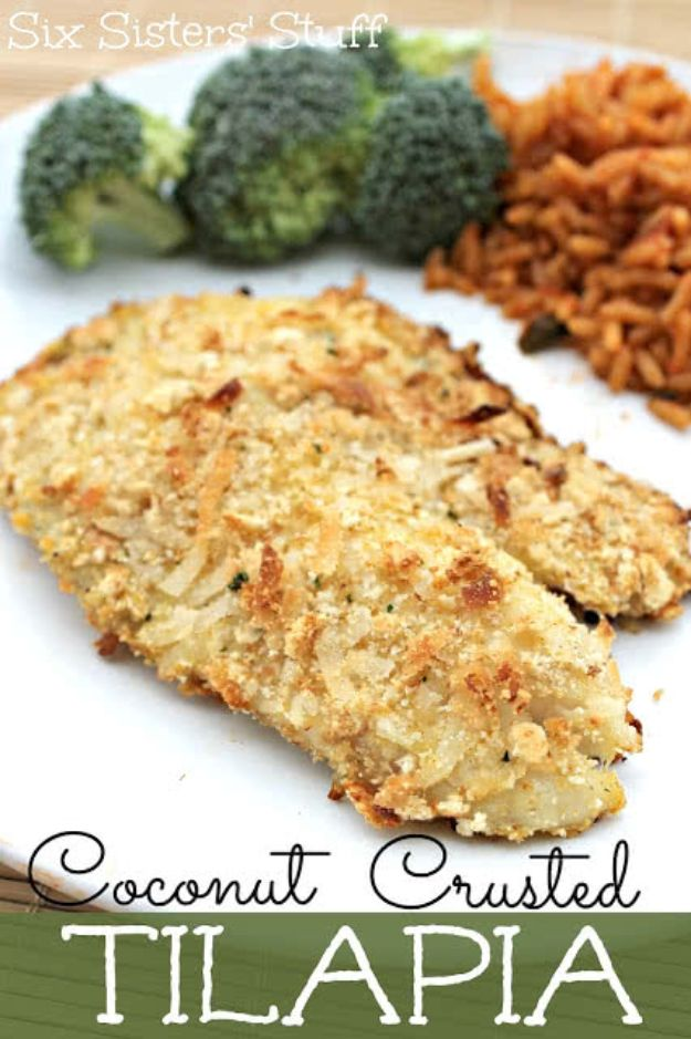 Tilapia Recipes - Coconut Crusted Tilapia - Best Recipe Ideas for Tilapia Fish - Dinner, Lunch, Snacks and Appetizers - Healthy Foods, Gluten Free Low Carb and Keto Friendly Dishes - Salads, Pastas and Easy Weeknight Dinners, Lunches for Work - Broiled, Grilled, Lemon Baked, Fried and Quick Ways to Make Tilapia http://diyjoy.com/tilapia-recipes