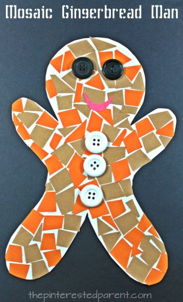 Winter Crafts for Toddlers and Kids - Construction Paper Gingerbread Man Mosaic - Easy Art Projects and Craft Ideas for 2 Year Olds, Preschool Age Children - Simple Indoor Activities, Things To Make At Home in Wintertime - Snow, Snowflake and Icicle, Snowmen - Classroom Art Projects #kidscrafts #craftsforkids #winters