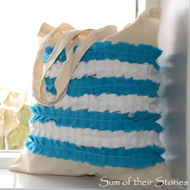 DIY Shopping Bags - Cornishware Ruffled Shopping Bag - Easy Drawstring Bag Tutorials - How To Make A Shopping Bag - Use Fabric Scraps, Old Denim Jeans, Upcycled Items - Cute Monogrammed Ideas, Painted Bags and Sewing Tutorials for Beginners s