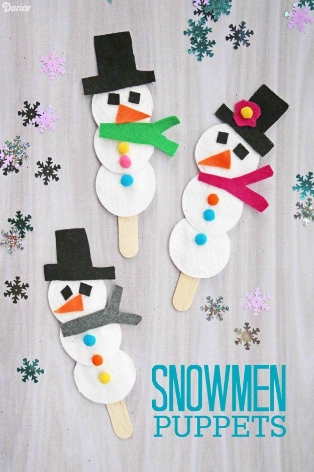 Winter Crafts for Toddlers and Kids - Cotton Pad Snowman Puppets - Easy Art Projects and Craft Ideas for 2 Year Olds, Preschool Age Children - Simple Indoor Activities, Things To Make At Home in Wintertime - Snow, Snowflake and Icicle, Snowmen - Classroom Art Projects #kidscrafts #craftsforkids #winters
