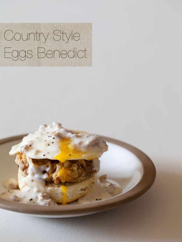 Eggs Benedict Recipes - Country Style Eggs Benedict - Best Benedicts and Recipe Ideas for Breakfast, Brunch and Lunch - Easy and Quick Eggs Benedict, Classic, Salmon, Vegetarian and Healthy Variations - How to Make Hollandaise Sauce - Pioneer Woman Favorites - Eggs Benedict Casserole for A Crowd http://diyjoy.com/eggs-benedict-recipes